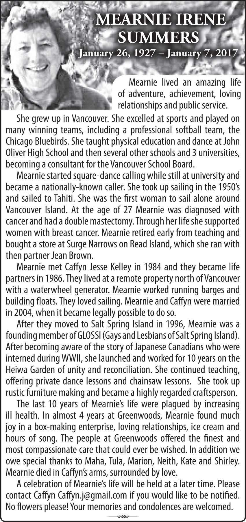 Mearnie Summers Obituary